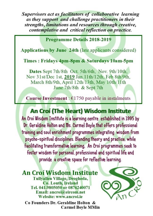 Wisdom Supervision An Croí brochure 2018-2019 4
