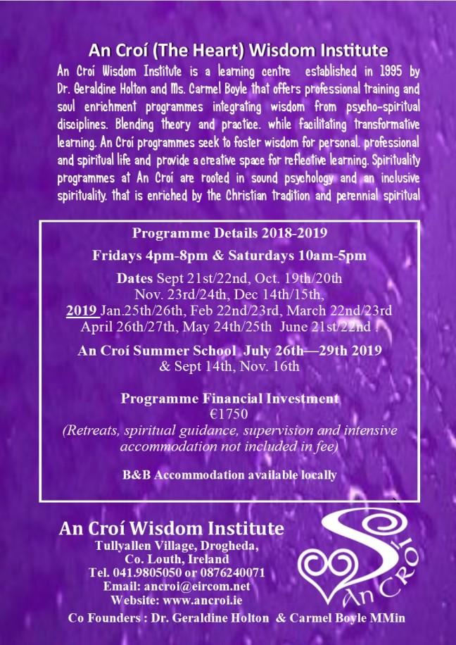Wisdom Supervision An Croí brochure 2018-2019.pub